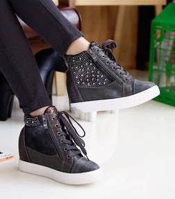 New Women Comfy Studs Leather Tall Up Hidden Wedge High Mid