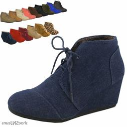 New Women Fashion Retro Lace Up Wedge Flatform Booties Oxfor
