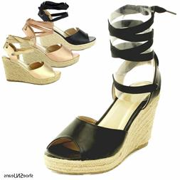 New Women Gladiator Lace Up Wedge Sandals Espadrille Platfor