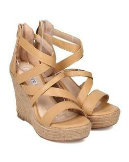 New Women KAYLEEN Gretta-1 PU Open Toe Strappy Espadrille Pl