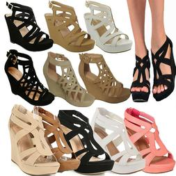 NEW WOMEN HIGH HEEL WEDGE GLADIATOR STRAPPY OPEN TOE PLATFOR
