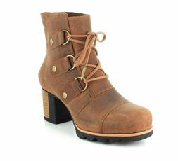 New Sorel Women's Addington Lace Up Booties Elk Fossil Brown