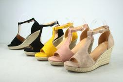 NEW Women's Espadrille Ankle Strap Buckle Wedge Sandals Shoe