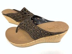 NEW! Skechers Women's BEVERLEE DAZZLED Wedge Sandals Chocola