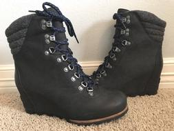 New SOREL Women's Conquest Wedge Black Waterproof Hiking Ank