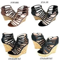 NEW Women's Cork Wedge Platform Strappy Gladiator High Heel