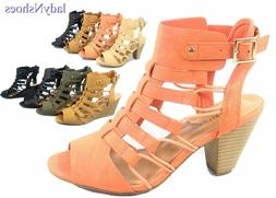 NEW Women's Open Toe Buckle Chunky Heel Gladiator Sandals Sh