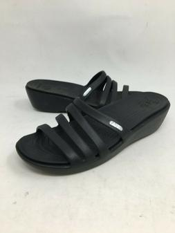 NEW! Crocs Women's Rhonda Wedge Sandals Black #14706-060 G9C