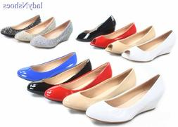 NEW  Women's Round Toe Open Toe Patent Glitter Low Wedge Pum