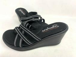 NEW! Skechers Women's RUMBLERS CALI SPELL Wedge Sandals Blac