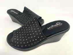 NEW! Skechers Women's RUMBLERS SILKY SMOOTH Wedge Sandals Bl