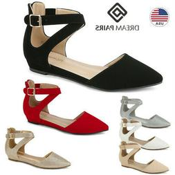 DREAM PAIRS Women's Ankle Strap Low Wedge Flats Ladies Strap