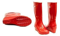 NEW Forever Young Women's Wedge Rain Boots - Red - Size: 9