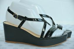 new womens 7 m black leather platform