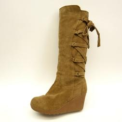 New BearPaw Womens Britney Tan Suede Knee-High Wedge Boots 2