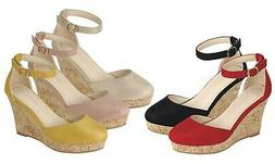 New Womens Closed Toe Ankle Strap Cork High Wedge Platform H