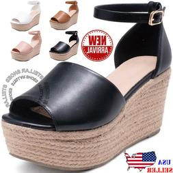 NEW Womens Sandals Wedges Heels Ankle Strap Platform Open To
