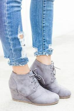 New Womens Vegan Suede Denim Lace Up Med Low Wedge Heel Ankl