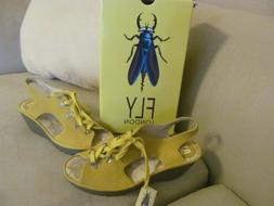 NIB FLY London Leather Lace-up Wedge Sandals Ylfa SOLD OUT!