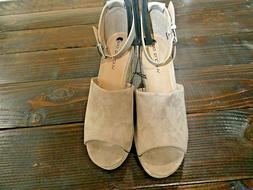 nude wedges size 11 ankle strap