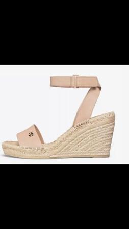 NWB Tory Burch Bima Espadrille Wedge Sandal, Color- Natural