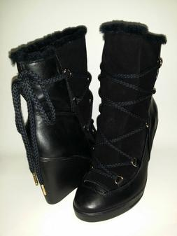 NWB Women's MICHAEL KORS Black Leather & Suede Wedge Boot Wo