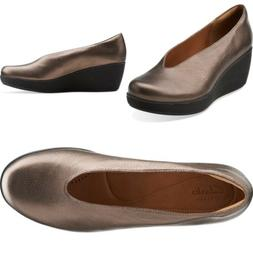 NWOB Clarks Artisan Claribel Flare Leather Bronze Wedge Shoe