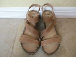NWT Clarks Brown Leather Wedge Heels For Women Size 7.5 Eur