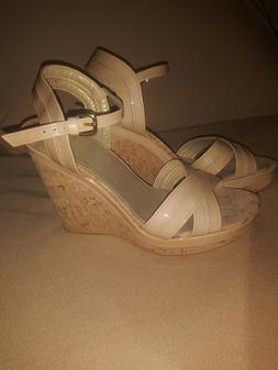 Stuart Weitzman NWT Leather Wedge Sandals Open Toe Tan SZ 10