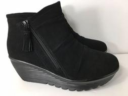 Skechers Parallel Black Suede Wedge Ankle Boots Women's Size
