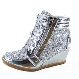 Forever Link Peggy-44 Women's Fashion Glitter High Top Lace