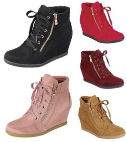 Peggy-56 Womens Hidden Wedge Low Mid Heel Ankle Boots Sneake