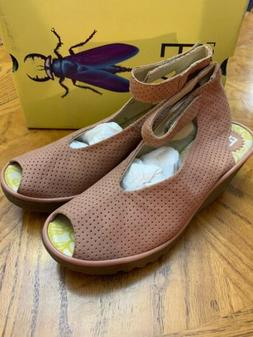FLY London Perforated Leather Wedge Sandals-Yala Perf-Rose-4