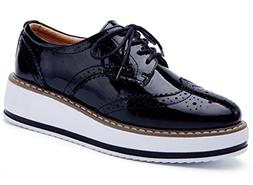 platform lace wingtips square toe