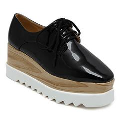TENGYUFLY Women's Platform Wedges Oxfords Classic Casual Lac