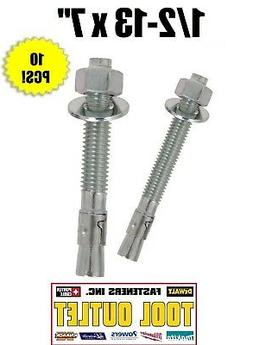 "1/2-13 x 7"" Concrete Wedge Anchor Zinc Plated"