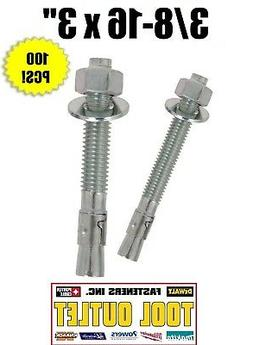 "3/8-16 x 3"" Concrete Wedge Anchor Zinc Plated"