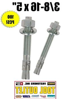"3/8-16 x 5"" Concrete Wedge Anchor Zinc Plated"