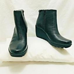 NATURALIZER QUINETA black wedge pebbled leather boots bootie