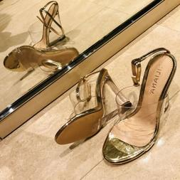 Liliana RAMPAGE Clear Gold Double Band Ankle Strap Clear Luc