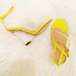 Liliana RAMPAGE Yellow Black Double Band Ankle Strap Clear L