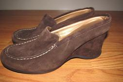 "BASS ""Reba"" Wedge Mule/Shoes~Womens Size 8 1/2M~Brown Suede~"