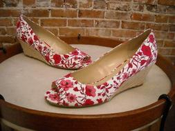 Isaac Mizrahi Red & White Floral Canvas Peggy Peep-toe Wedge