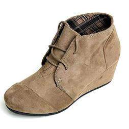 Forever Link Women's Round Toe Lace Up Wedge Heels Suede Ank