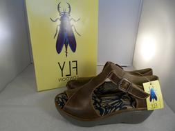 FLY London Rug Camel Brown Wedge Sandals Women's Size 8-8.5