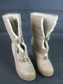 BETSEY JOHNSON RYAAN SHERLING LEATHER & SHERPA WEDGE BOOTS B