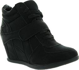 Top Moda Womens Sammy-40 High Top Strap Womens Hidden Wedge