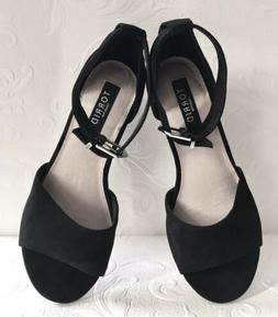 sandals size 10w black suede ankle strap