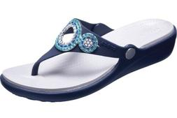 sanrah diamante embellished wedge flip flop thong