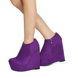Original Intention Sexy Women Ankle Boots Faux Suede Wedges